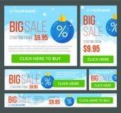Grand, demi prix et bannières de vente jour Vecteur Images libres de droits