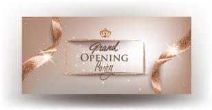 Grand die beige banner met krullende geweven linten en gouden kader openen vector illustratie