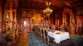 Grand dining room inside the historical Chapultepec Castle stock images