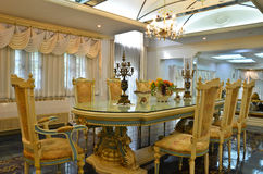 Grand Dinning Room (curtain side). A Dinning room from a nicely decorated house Stock Photography