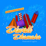 Grand Diwali Dhamaka offer on firecrackers. Grand Diwali Dhamaka offer on colourful glossy firecrackers for Indian Festival of Lights celebration Royalty Free Stock Photos