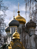 Grand Domes of Smolensky Cathedral in Novodevichy Convent Royalty Free Stock Image