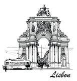 Grand dos de commerce à Lisbonne illustration de vecteur