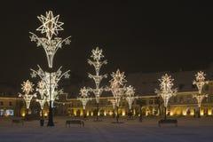 Grand dos de lumières de Noël de Sibiu Transylvanie Photo stock