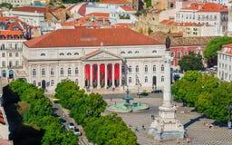 Grand dos de Rossio à Lisbonne Images libres de droits