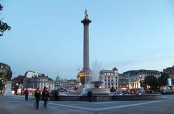 Grand dos de Trafalgar au crépuscule Images libres de droits