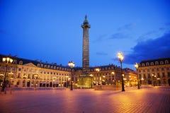 Grand dos de Vendome la nuit, Paris Images libres de droits