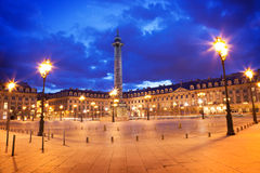 Grand dos de Vendome la nuit, Paris Photo stock