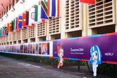 Grand dos de village de village olympique de la jeunesse Image libre de droits