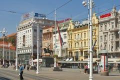 Grand dos de ville centrale de Zagreb Photos libres de droits