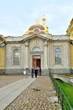 Grand Ducal Burial Vault Imperial house of Romanov dynasty in the Peter and Paul Cathedral. SAINT-PETERSBURG, RUSSIA - JUNE 19, 2015. Tourists near Grand Ducal Stock Photo