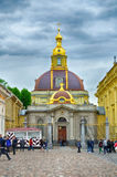 Grand Ducal Burial Vault Imperial house of Romanov dynasty in the Peter and Paul Cathedral. ST PETERSBURG, RUSSIA - JUNE 19, 2015. Tourists near Grand Ducal Royalty Free Stock Photos