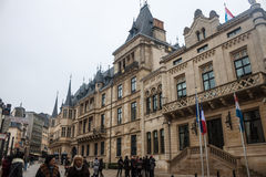 Grand Ducal Palace in Luxembourg. LUXEMBOURG, NOVEMBER 17:People walk in front of Grand Ducal Palace in Luxembourg on November 17, 2012.  It is the official Stock Images