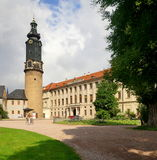 Grand-Ducal Palace of Weimar. The Neo-Classical structure of the Grand-Ducal Palace, after a fire, was rebuilt in 1774. It was the residence of the dukes of Saxe Royalty Free Stock Photo
