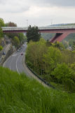 Grand Duchess Charlotte Bridge. In Luxembourg, over a road Royalty Free Stock Photo