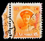 Grand Duchess Charlotte, serie, circa 1925. MOSCOW, RUSSIA - OCTOBER 3, 2017: A stamp printed in Luxembourg shows Grand Duchess Charlotte, serie, circa 1925 Stock Photography