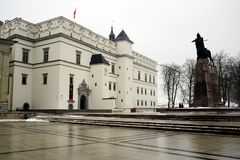 Grand Duke Gediminas with Horse Monument and Palace of dukes Stock Images