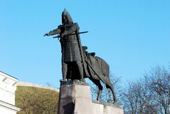 Grand Duke Gediminas with Horse Monument in Vilnius Stock Images