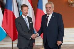 Grand Duke Henri and Milos Zeman Stock Image