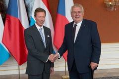 Grand Duke Henri and Milos Zeman Royalty Free Stock Images