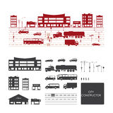 Grand ensemble avec des éléments de ville pour faire votre propre ville illustration stock