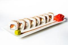 grand ensemble avec des sushi et des petits pains Images libres de droits