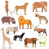 Grand ensemble avec les animaux africains illustration de vecteur