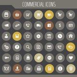 Grand ensemble commercial d'icône, icônes plates à la mode photographie stock