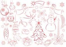 Grand ensemble d'éléments de Noël de vecteur Images stock