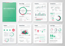 Grand ensemble d'éléments infographic de vecteur dans le style plat d'affaires Images stock