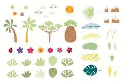 Grand ensemble d'éléments tropical illustration de vecteur