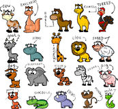 Grand ensemble d'animaux de dessin animé, vecteur Image stock