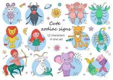 Grand ensemble d'animaux et de caractères fantastiques mignons comme signes de zodiaque Images stock