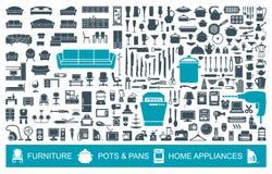 Grand ensemble d'articles de ménage d'icônes de qualité Meubles, vaisselle de cuisine, appareils Symboles à la maison illustration libre de droits