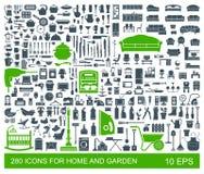 Grand ensemble d'articles de ménage d'icônes de qualité Meubles, vaisselle de cuisine, appareils, garde d'enfants, jardin illustration stock
