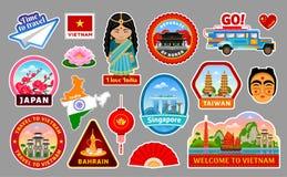 Grand ensemble d'autocollants de voyage de l'Asie illustration stock