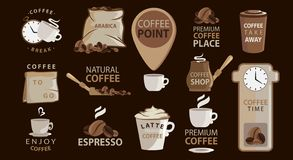 Grand ensemble d'emblèmes ou d'autocollants de café avec des illustrations de café logotypes Arabica, expresso, latte Grande coll illustration libre de droits