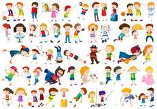 Grand ensemble d'enfants illustration stock