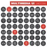 Grand ensemble d'icône de multimédia Photos libres de droits