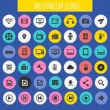 Grand ensemble d'icône de multimédia, collection plate à la mode d'icônes images stock
