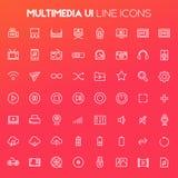 Grand ensemble d'icône de multimédia, icônes linéaires à la mode images stock