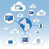 Grand ensemble d'icône de données, concept de calcul de nuage Illustration de Vecteur