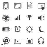 Grand ensemble d'icône de données, téléphone portable Photos libres de droits
