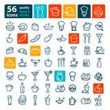 Grand ensemble d'icône de nourriture Photos libres de droits