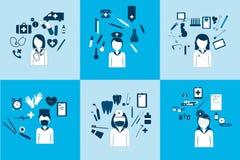 Grand ensemble d'icônes de vecteur de différents médecins d'avatars illustration stock
