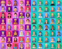 Grand ensemble d'icônes plates de divers caractères masculins Photographie stock libre de droits