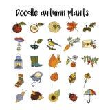 Grand ensemble d'icônes uniques tirées par la main d'automne Image libre de droits