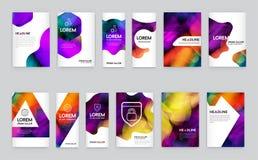 Grand ensemble d'identité visuelle avec l'en-tête de lettre polygonal de style d'éléments de lettre et la couverture douce de bro illustration de vecteur