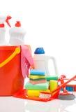 Grand ensemble d'éléments de nettoyage avec le copyspace Photo stock