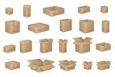 Grand ensemble de boîtes en carton isométriques sur le blanc Boîte de carton organisée par des couches Illustration de vecteur de Photo stock